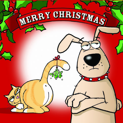 CAN4 – Funny Cat & Dog Christmas Card Mistletoe